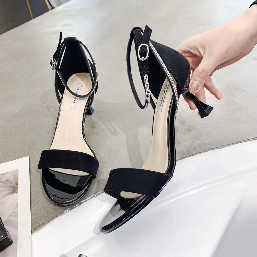 Minimalist sandals fairyland summer 2020 new simple and versatile one word with square head high heels 58016