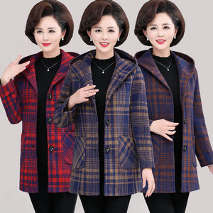 妈妈秋装毛呢外套中老年女装冬季加厚加棉衣服奶奶连帽呢子大衣21