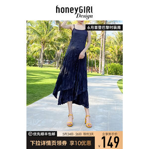 honeyGIRL一字带露趾罗马凉鞋女2020新款春夏季高跟鞋粗跟仙女鞋