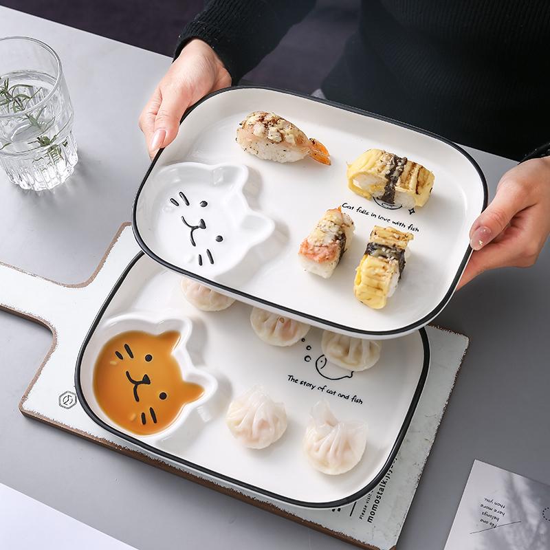 日式可爱创意个性饺子盘子带醋碟家用2021新款网红餐具菜盘ins风