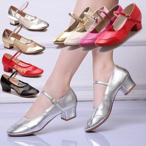 广场舞鞋中跟女成人真皮软底女鞋