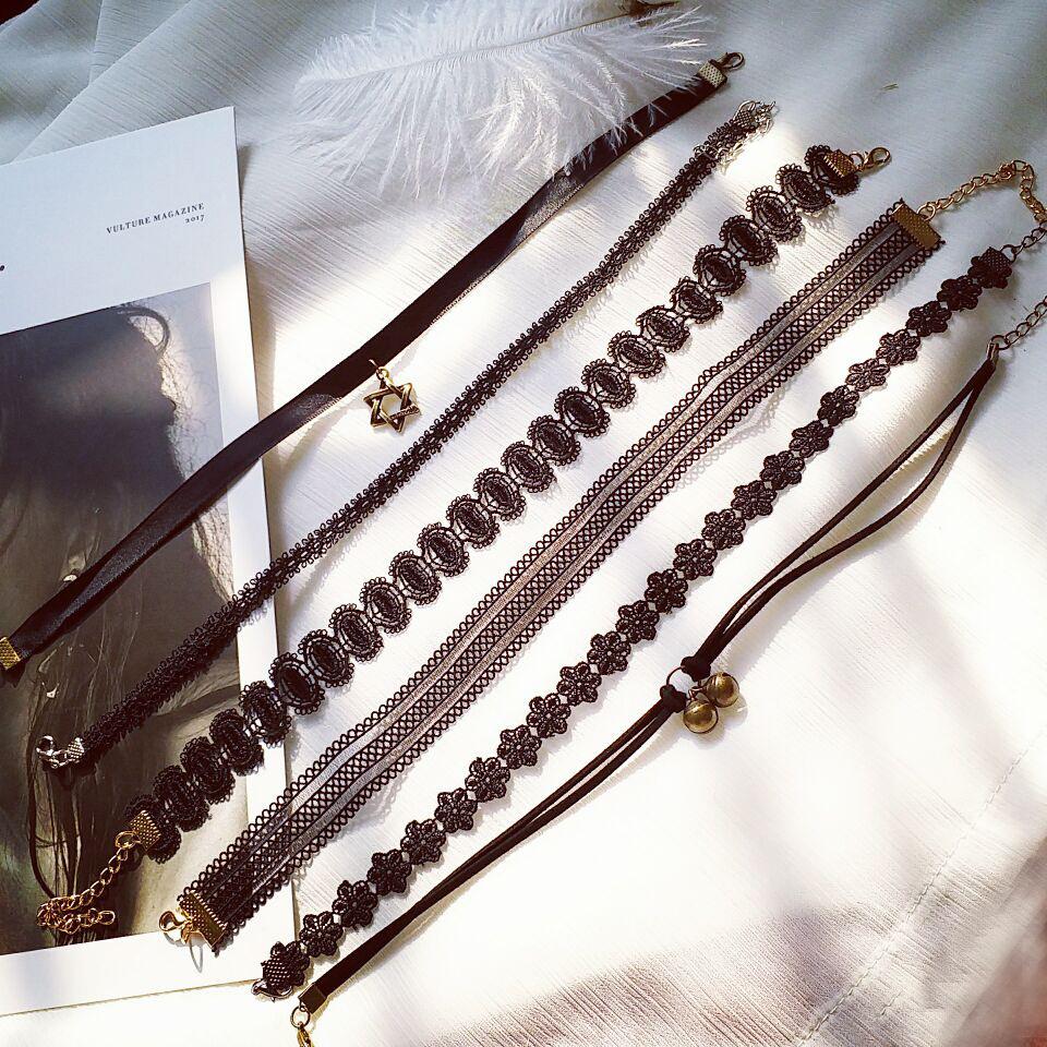 欧美亚马逊性感蕾丝CHOKER项链哥特式项圈短款黑色颈链锁骨链
