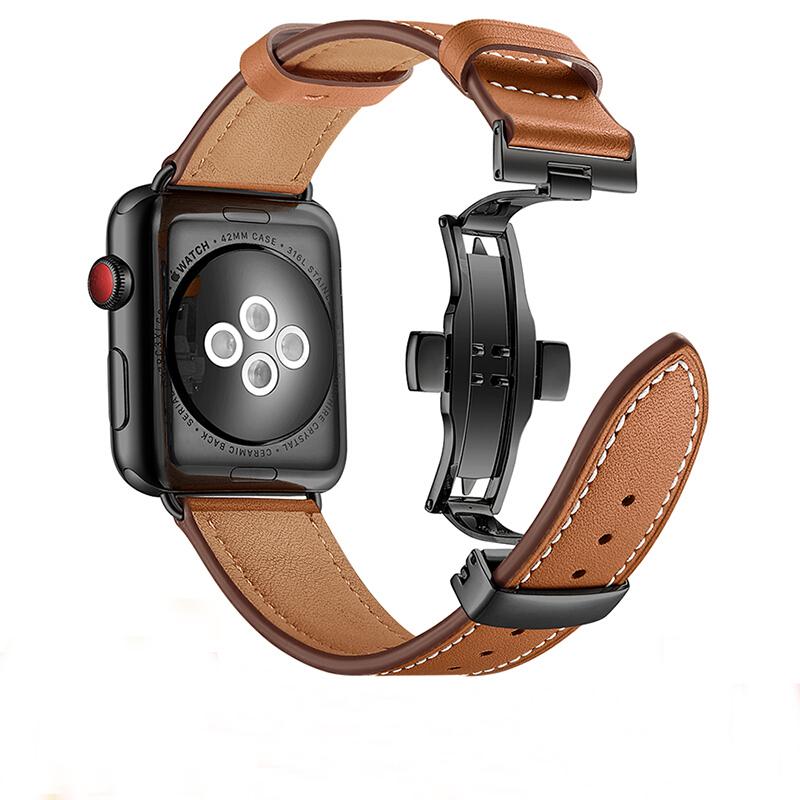 锐立 apple watch表带真皮蝴蝶扣iwatch5/4/3/2代苹果手表表带44/42/40/38mm腕带金属扣表带男替换带新款女潮