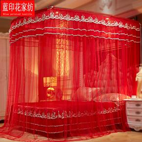 婚庆伸缩蚊帐红色1.8米床2.2床家用支架加密加厚结婚三开门U型帐