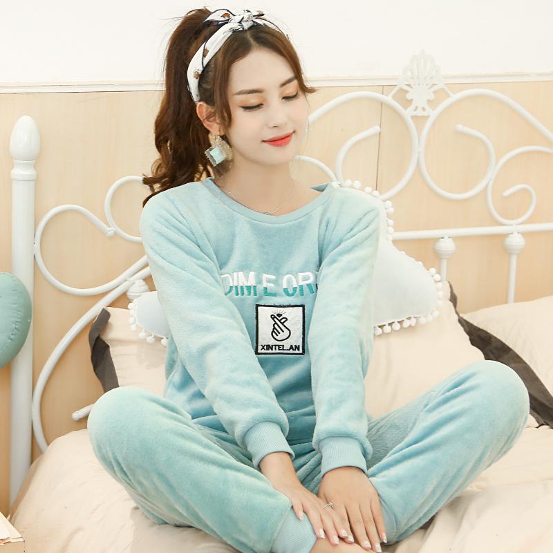 睡衣女秋冬季法兰绒保暖280克加厚珊瑚绒韩版套头可外穿长袖加大