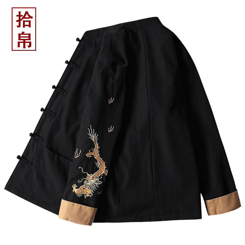 Buddhist Chinese Style Mens wear youth Tang jacket with retro embroidery jacket Chinese style jacket Hanfu new products in spring