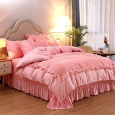 ins网红四件套公主风蕾丝花边床裙式床单被套1.5/1.8m米床上用品