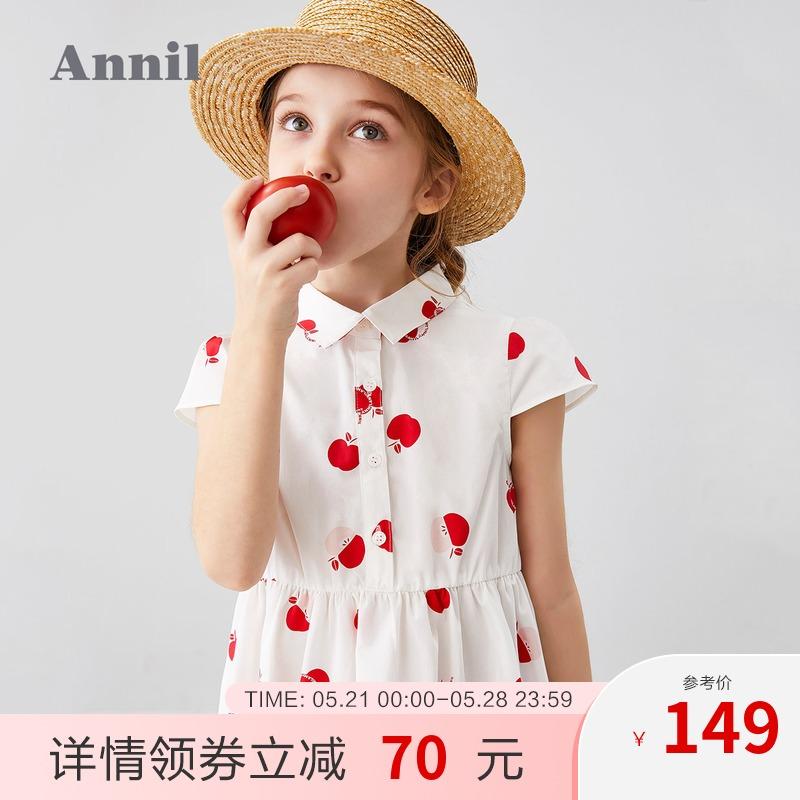 安奈儿童装女童连衣裙短袖2020夏季新款复古风轻薄洋气中大童裙子