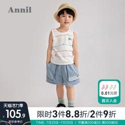商场同款安奈儿男童牛仔短裤2021夏新款洋气潮童宝宝工装五分裤薄