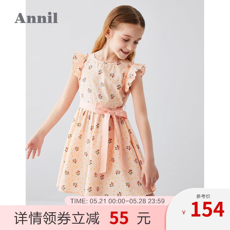 安奈儿童装女童连衣裙无袖2020夏季新款撞色印花中大童碎花连衣裙