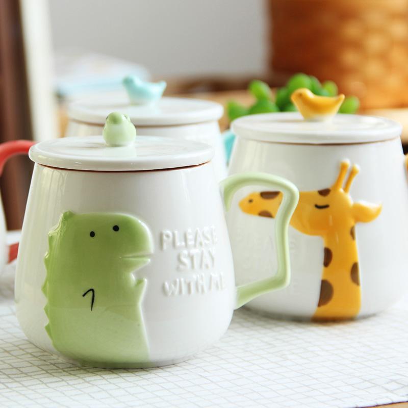 可愛卡通浮雕陶瓷杯帶蓋勺清新情侶馬克杯咖啡杯辦公室水杯子
