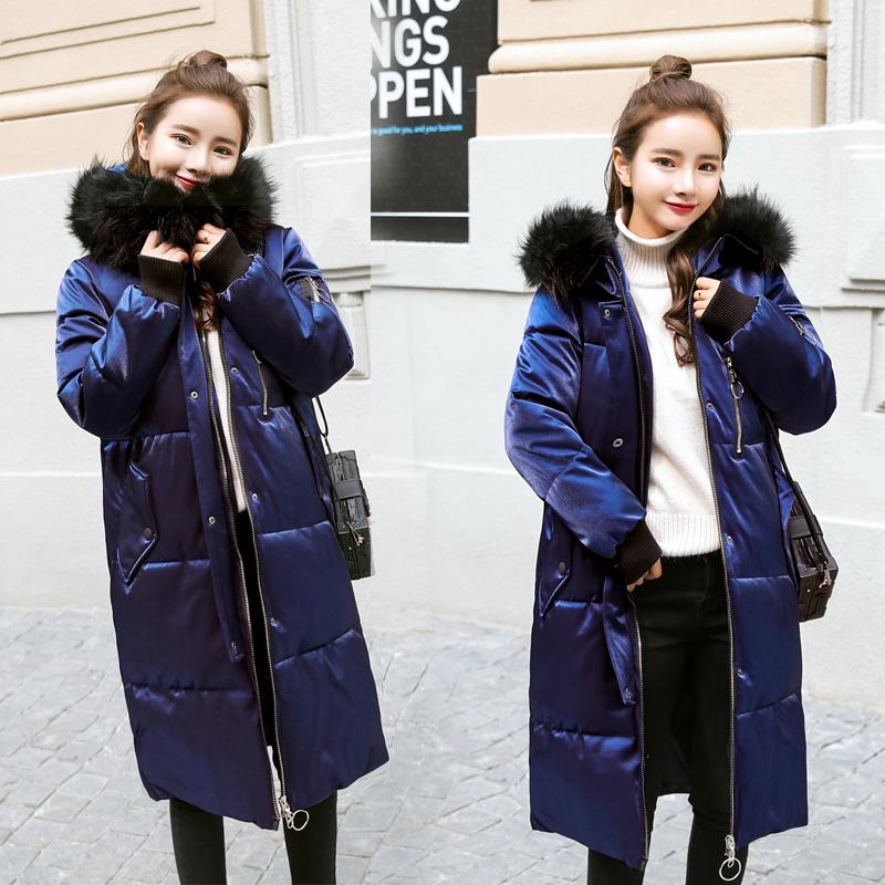 2017年冬季新款棉衣女中长款韩版修身大毛领保暖羽绒棉袄外套潮流