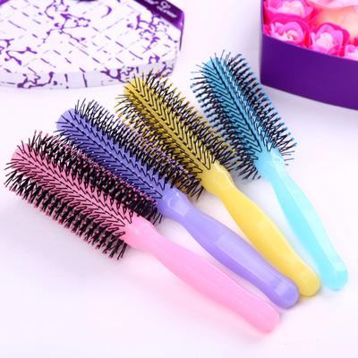荧光塑料卷发梳吹头发圆筒家用短发造型美发滚梳内扣卷梳子女学生