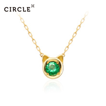 CIRCLE Japanese Jewelry Natural Emerald 18K Gold Necklace Female Pendant Jewelry Clavicle Chain Official Genuine