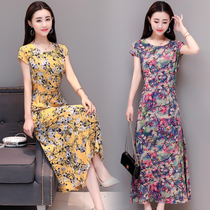 中老年夏装裙子棉绸中老年女装印花连衣裙妈妈装短袖长裙妇女大码