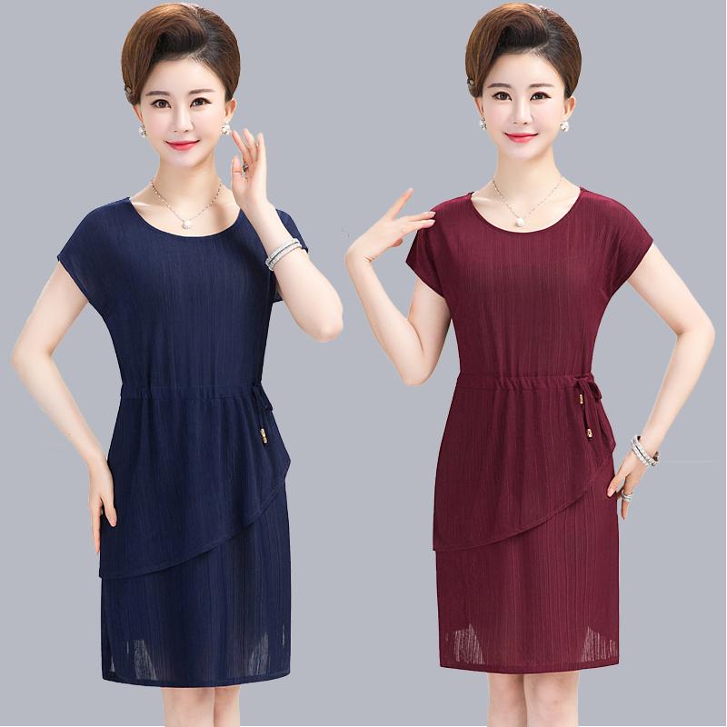 中老年女装夏装雪纺连衣裙妈妈装夏天中年妇女40-50-60岁短袖裙子