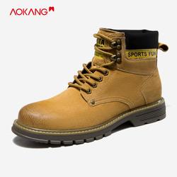 奥康男鞋冬季款系带大头鞋沙漠靴户外马丁靴英伦时尚潮鞋WP