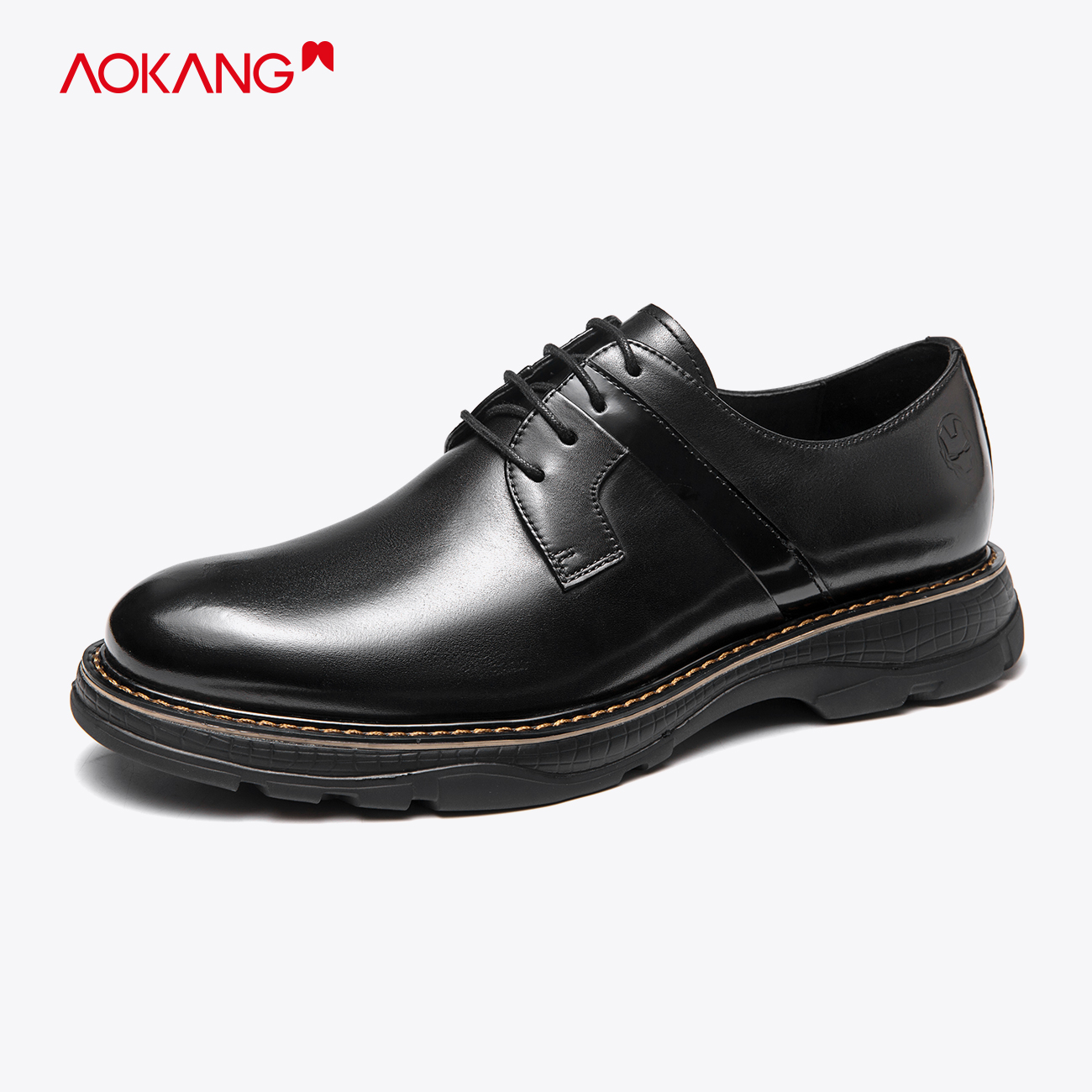 [manwei Iron Man series] Aokang mens shoes 2020 new genuine leather shoes mens British Derby shoes comfortable single shoes