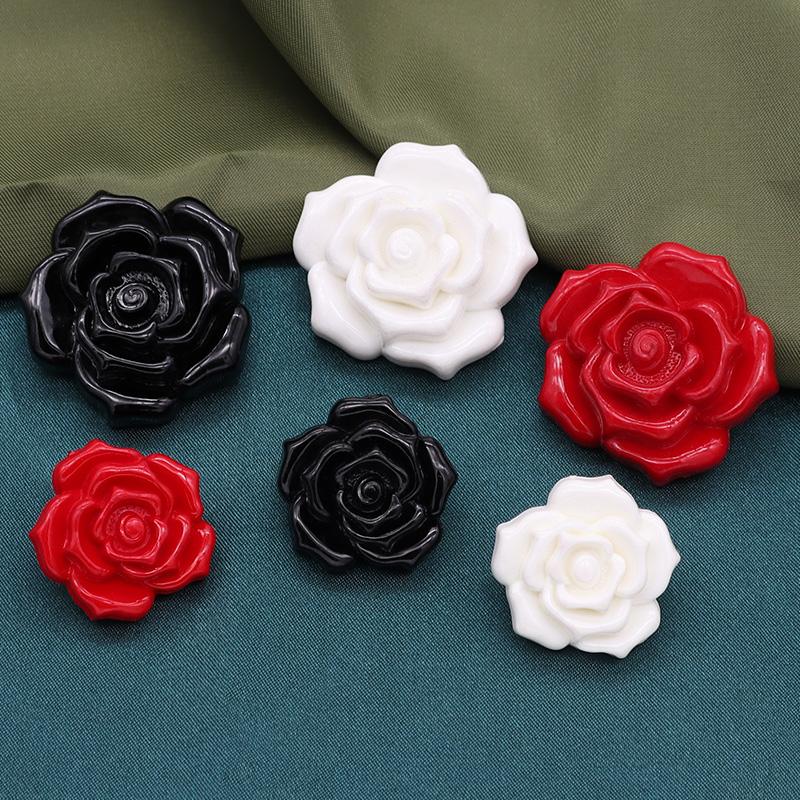 High grade nylon button cloth coat button black white lady sweater coat cardigan Rose Button