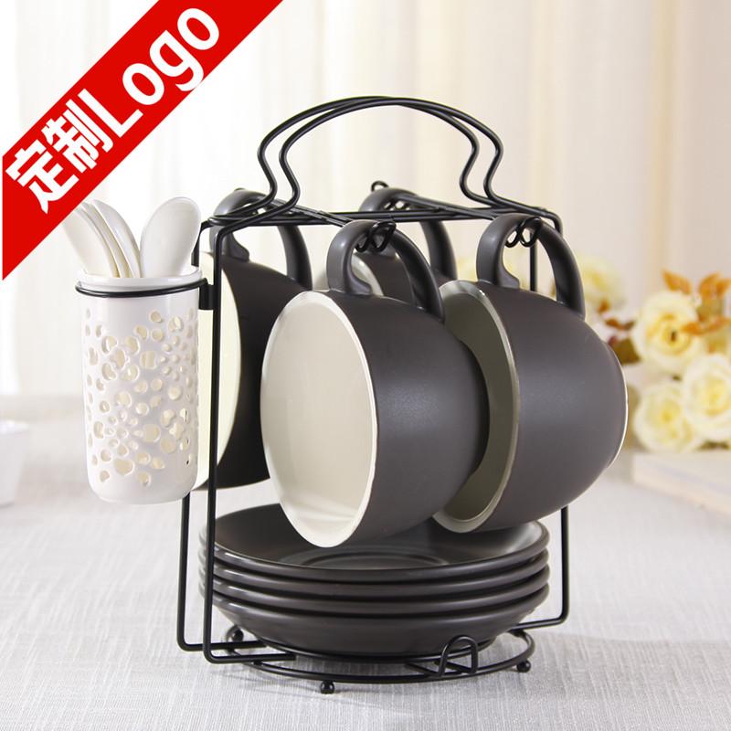 陶瓷咖啡杯碟套装 欧式下午茶具拉花咖啡杯4杯碟大容量咖啡杯子
