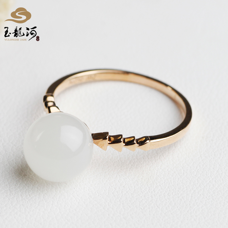 Yulonghe jade, Xinjiang Hetian jade, 18K gold, inlaid with diamonds, lanolin white jade, 19chen ring, boutique female new product with certificate