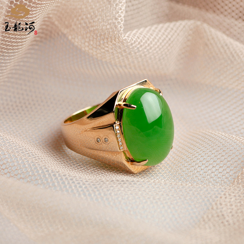 Jade of yulonghe, jade of Hetian, Xinjiang, jade of Laokeng, Jasper, apple green, 18K, gold inlaid with diamond, 19 Chen ring, new type with certificate
