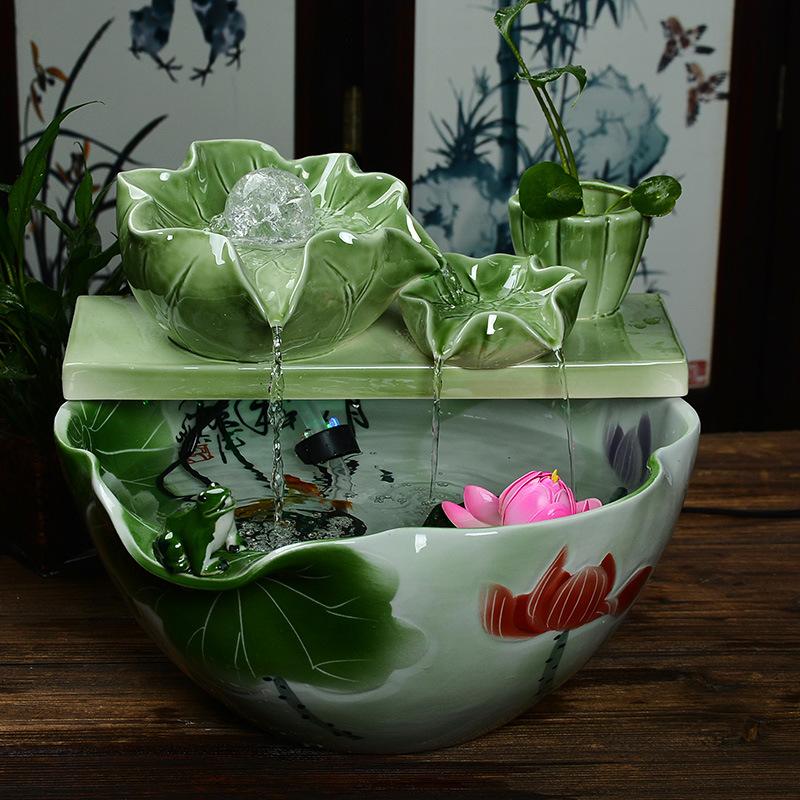 时来运转循环流水摆件鱼缸风水招财转运聚宝盆家里室内家庭装饰品
