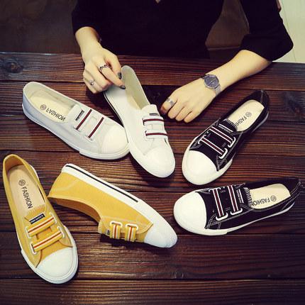 2019夏季新款小白帆布鞋韩版学生百搭潮鞋休闲懒人布鞋一脚蹬女鞋