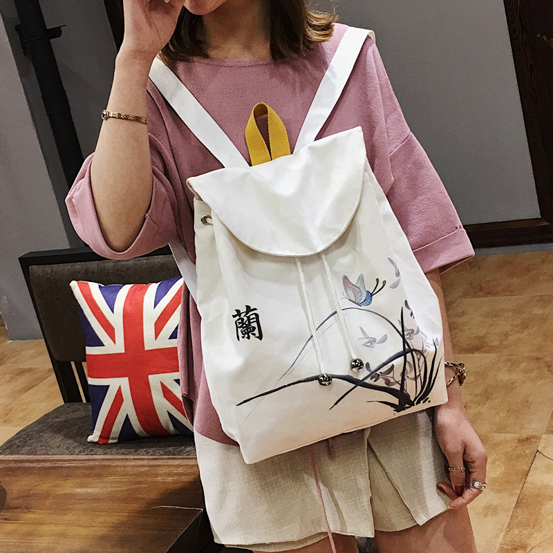 Ethnic womens Canvas Backpack 2018 new fashion backpack womens bag versatile environmental protection students schoolbag