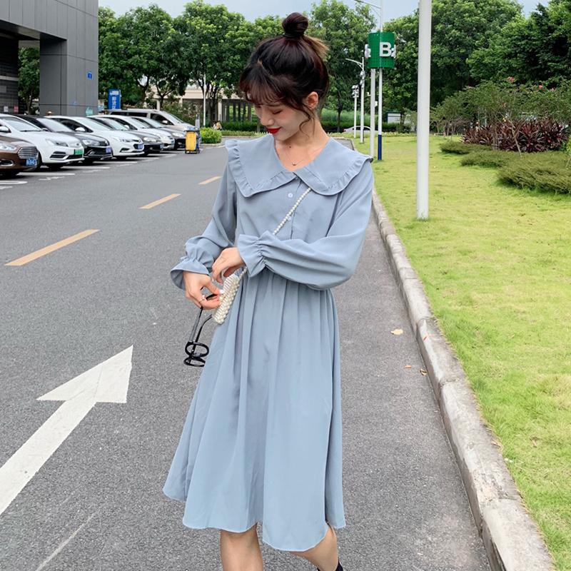 韩版学院风2019早秋新款学生甜美可爱娃娃领收腰显瘦长袖连衣裙女29.98元包邮