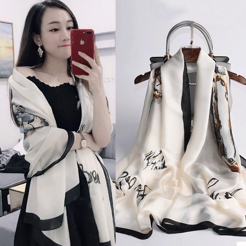 杭州丝绸轻薄丝巾女百搭围巾长款披肩外搭春秋款洋气时尚冬季纱巾