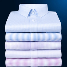 Autumn men's long sleeved shirts, cotton, ironing, business suit, middle-aged cotton stripes, large size professional shirts.