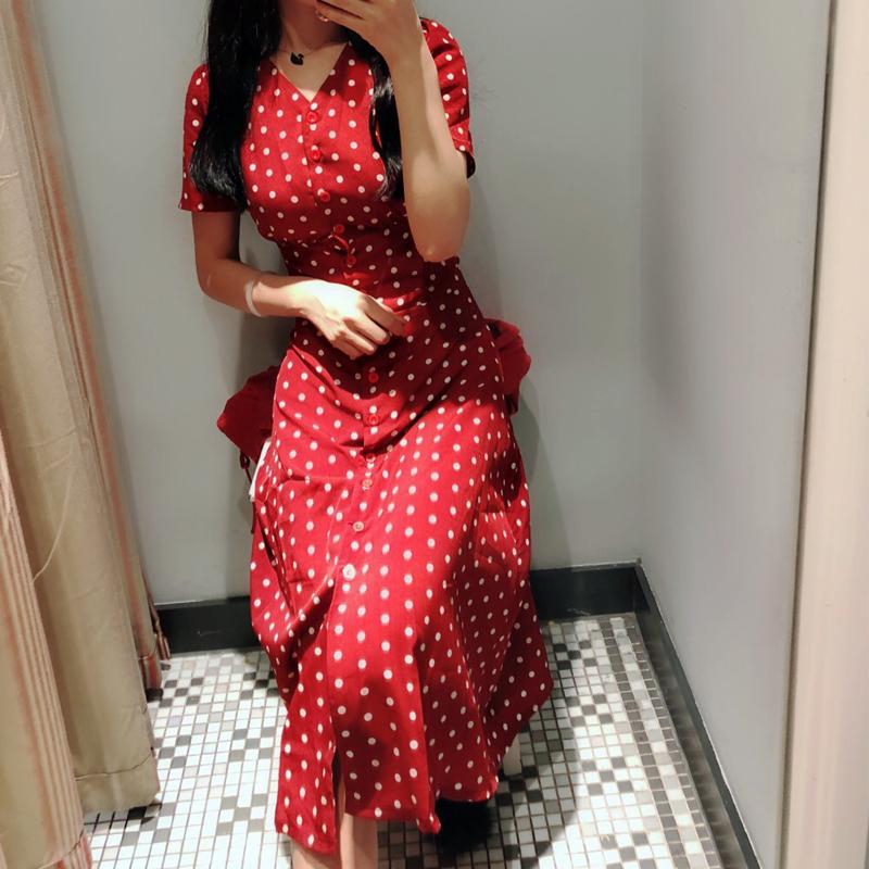 ins超火的v领冷淡风红色法式复古雪纺波点连衣裙女夏2018新款裙子