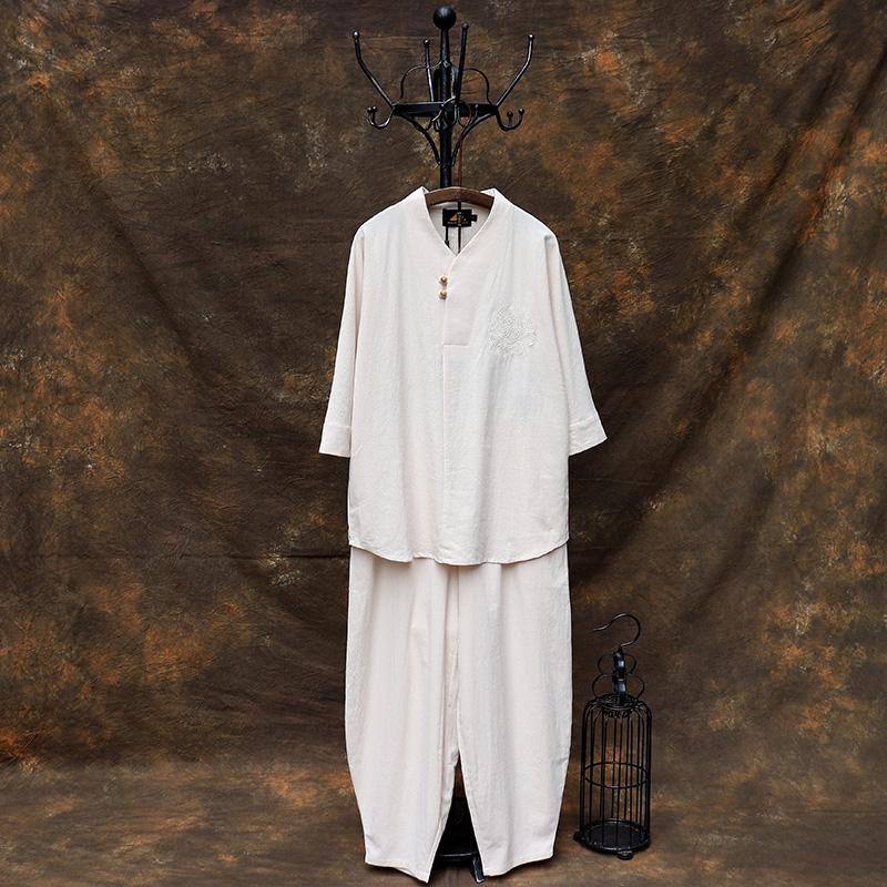 中国风禅服茶服居士服套装中式唐装古装改良汉服夏装佛系古风男装