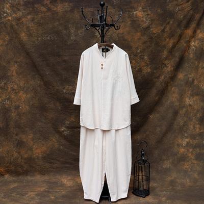 中国风禅服茶服居士服套装中式唐装古装男士汉服佛系古风打坐男装