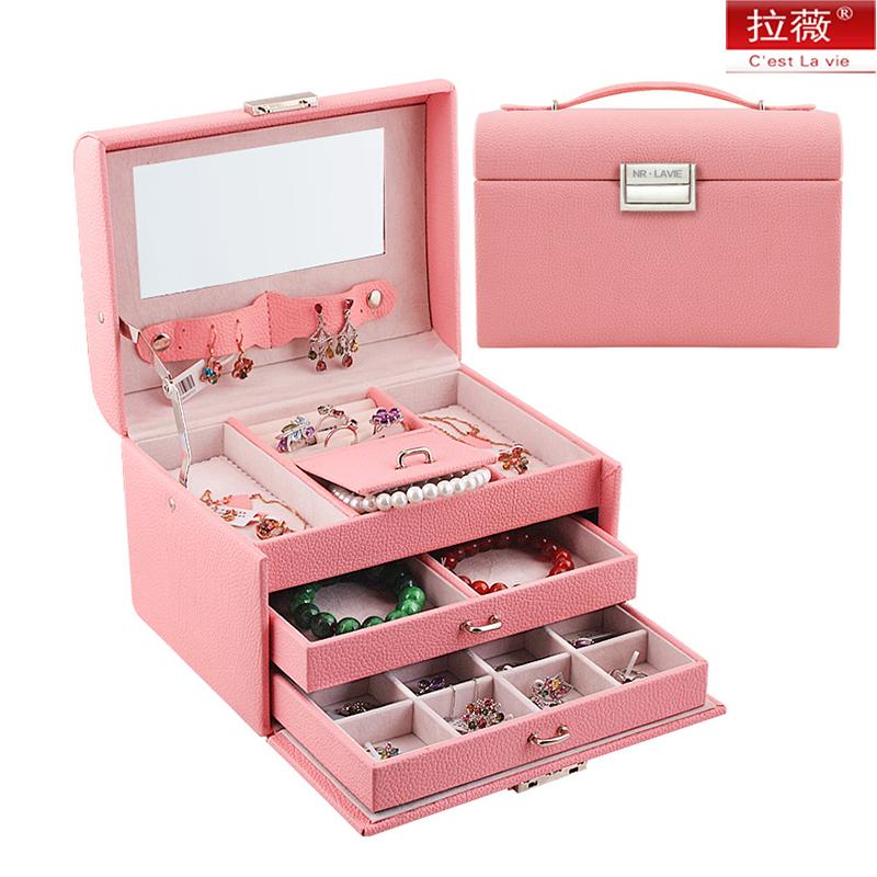 拉薇首饰盒 抽屉式大公主扇形饰品收纳盒 饰品盒首饰化妆盒戒指盒