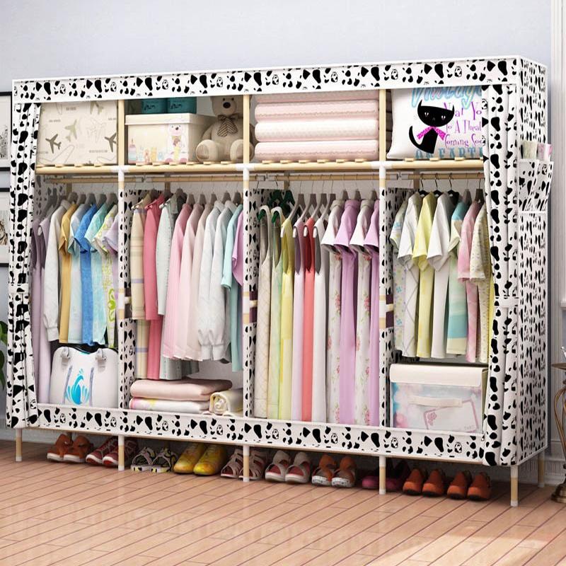 出租房宿舍简易衣柜布艺简约现代经济型组装实木板式橱柜子省空间