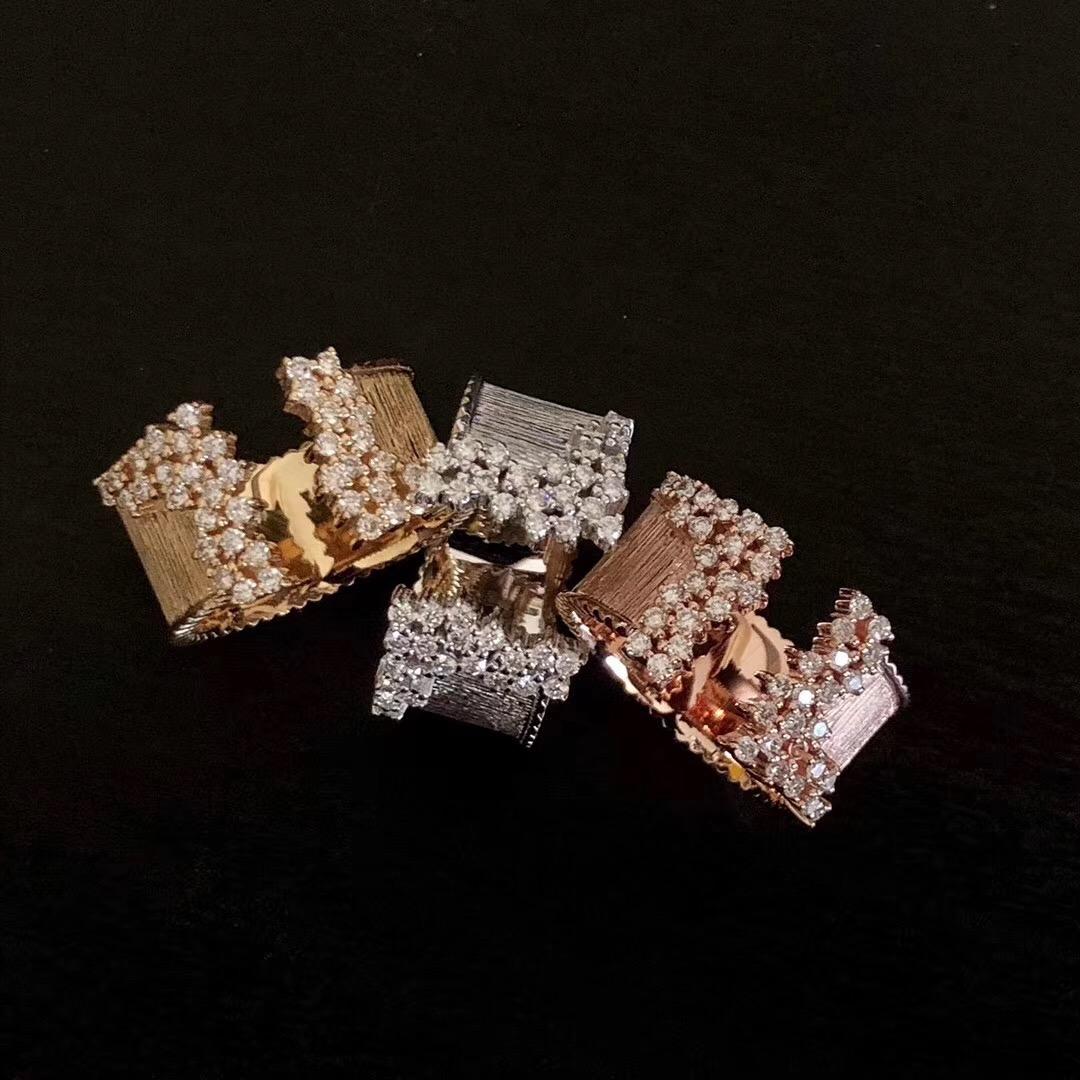 法时珠宝18K金钻石戒指 手工拉丝宽版戒指