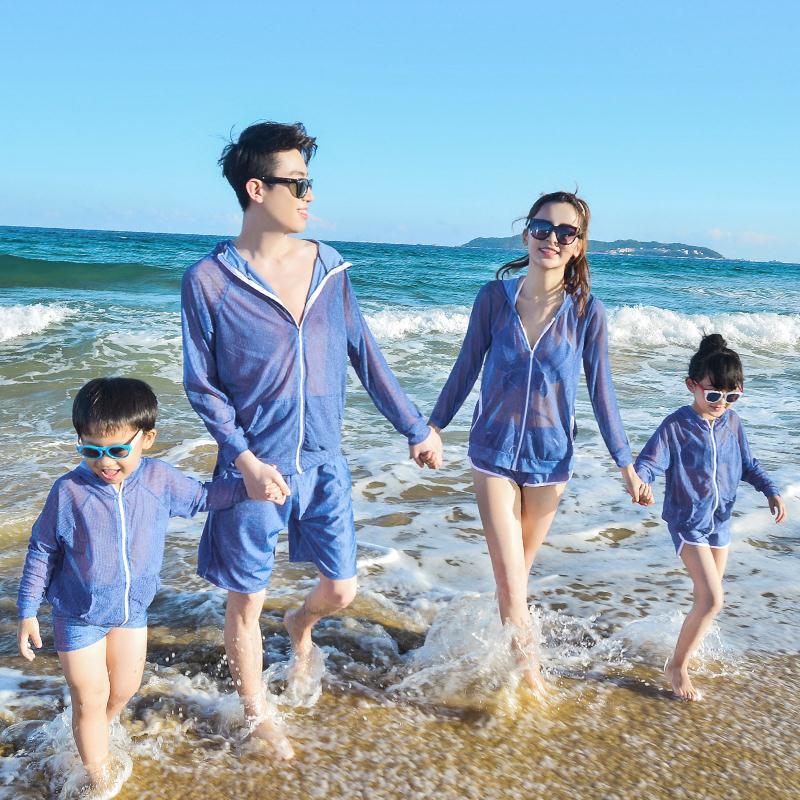 亲子情侣泳衣母女比基尼修身显白一家三口全家装父子沙滩裤防晒衣