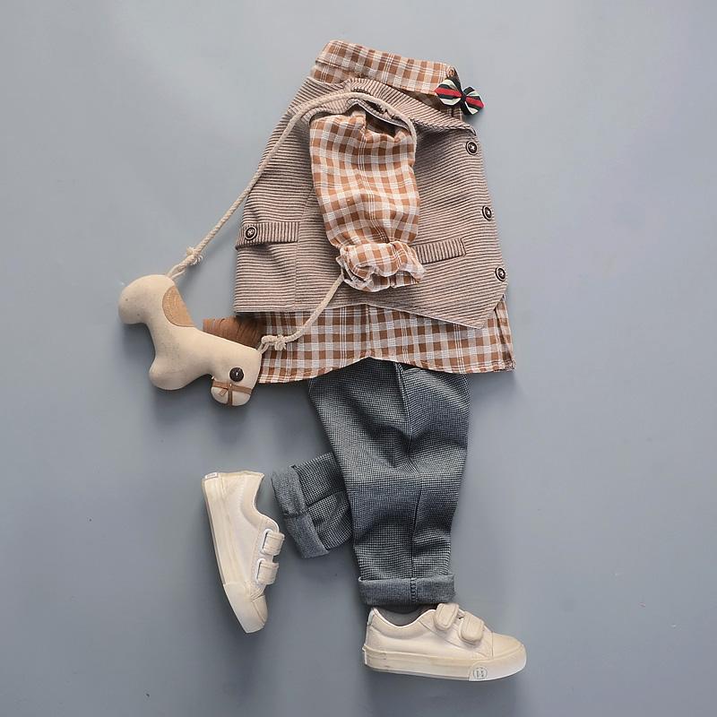 1周岁男童小西装春季格子0-3衬衫