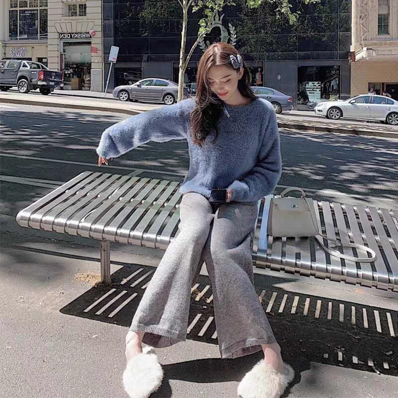 秋冬季女裝網紅減齡穿搭抖音高腰慵懶毛衣闊腿褲職業兩件套裝時尚