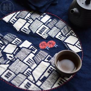 烟雨江南手工DIY布艺欧式刺绣花材料包中国风禅意刺子绣茶席套件