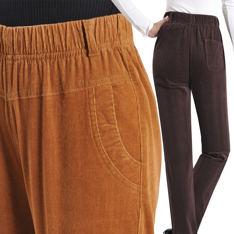 Middle aged and elderly womens full cotton trousers, grannys elastic waist corduroy womens pants, casual pants.
