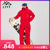 LTVT new mens and womens single-board conjoined ski suit set waterproof clip cotton single Double board couple ski suit
