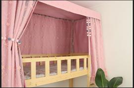 美博床帘chic大学生宿舍上铺下铺遮光透气双层蚊帐樱花公主风床幔
