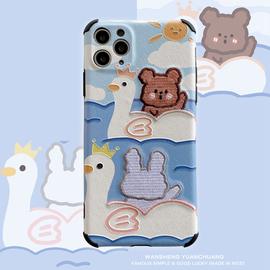 玩胜 刺绣小熊兔子11Pro/Max苹果X/XS/XR/SE手机壳iPhone7p女8plus个性创意全包摄像头保护套ins可爱卡通软壳图片