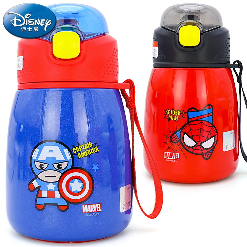 迪士尼儿童保温杯不锈钢水杯带吸管宝宝便携布丁杯男童女童喝水杯