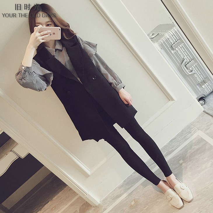 Large womens wear 2021 early autumn new fat mm foreign style thin age reducing vest shirt two piece set fashion trend