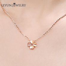18K Rose Gold Diamond Clover Necklace Gold clavicle chain Korean version pendant platinum jewelry birthday gift