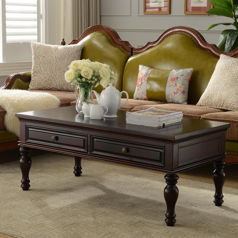 美式茶几简约复古实木家具组装小户型创意乡村客厅茶几电视柜组合